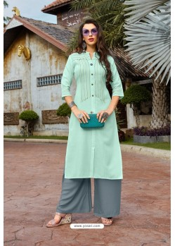 Sky Blue Heavy Party Wear Readymade Cotton Kurti With Palazzo