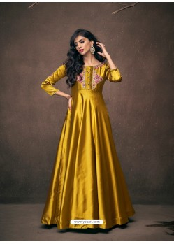 Yellow Designer Satin Silk Readymade Party Wear Gown For Girls