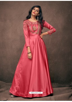 Dark Peach Designer Satin Silk Readymade Party Wear Gown For Girls