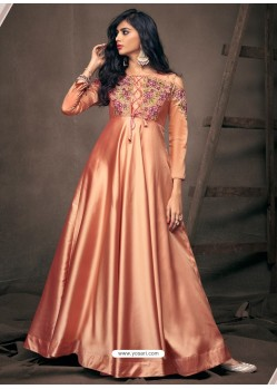Light Orange Designer Satin Silk Readymade Party Wear Gown For Girls