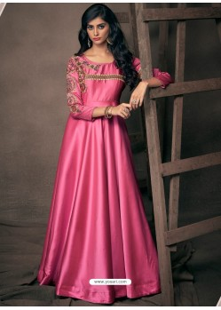 Hot Pink Designer Satin Silk Readymade Party Wear Gown For Girls