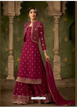 Rose Red Designer Party Wear Georgette Sharara Salwar Suit