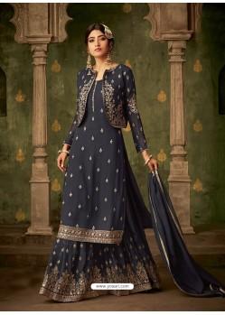 Grey Designer Party Wear Georgette Sharara Salwar Suit