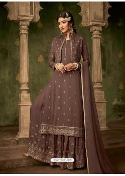 Coffee Designer Party Wear Georgette Sharara Salwar Suit