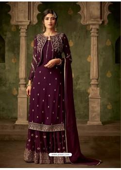 Deep Wine Designer Party Wear Georgette Sharara Salwar Suit