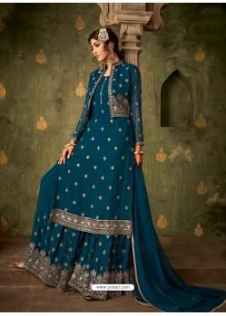 Teal Blue Designer Party Wear Georgette Sharara Salwar Suit