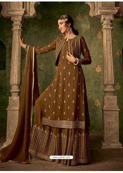 Marigold Designer Party Wear Georgette Sharara Salwar Suit