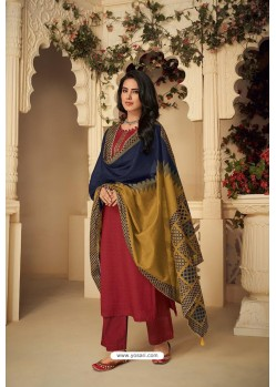 Rose Red Designer Party Wear Pure Jam Silk Cotton Straight Salwar Suit