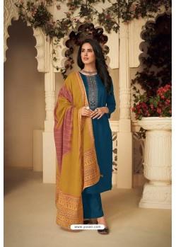 Teal Blue Designer Party Wear Pure Jam Silk Cotton Straight Salwar Suit