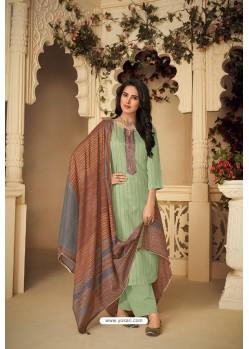 Sea Green Designer Party Wear Pure Jam Silk Cotton Straight Salwar Suit