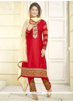 Hina Khan Red Designer Salwar Kameez