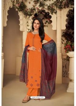 Orange Designer Party Wear Pure Jam Silk Cotton Straight Salwar Suit