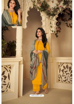 Yellow Designer Party Wear Pure Jam Silk Cotton Straight Salwar Suit