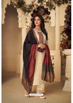 Cream Designer Party Wear Pure Jam Silk Cotton Straight Salwar Suit