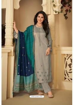 Grey Designer Party Wear Pure Jam Silk Cotton Straight Salwar Suit