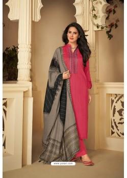 Dark Peach Designer Party Wear Pure Jam Silk Cotton Straight Salwar Suit