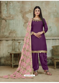 Purple Embroidered Party Wear Punjabi Patiala Suits