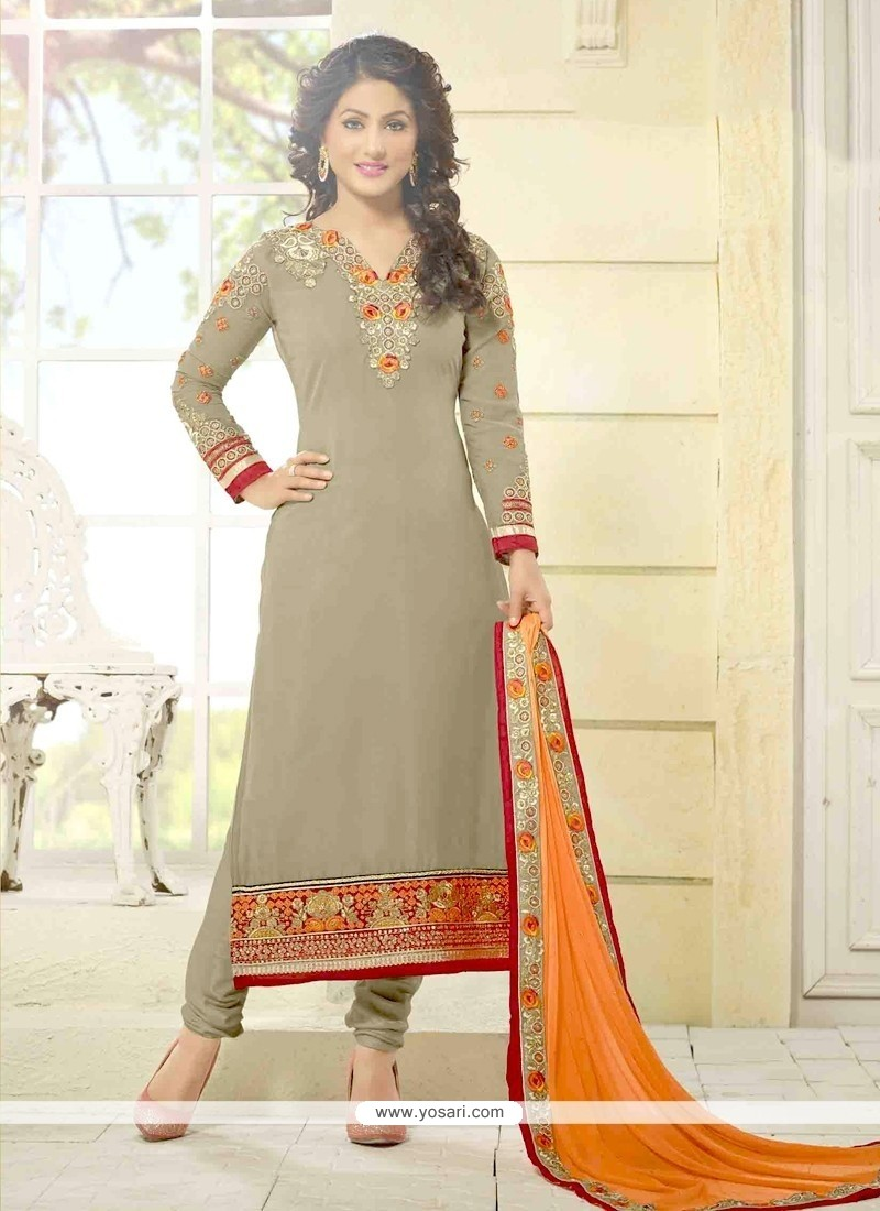 Hina Khan Lace Work Churidar Designer Suit