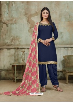 Navy Blue Embroidered Party Wear Punjabi Patiala Suits