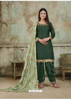 Dark Green Embroidered Party Wear Punjabi Patiala Suits