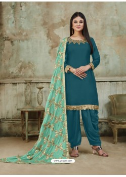 Teal Blue Embroidered Party Wear Punjabi Patiala Suits