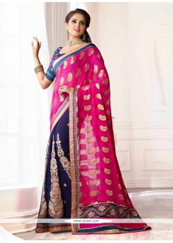 Blue And Pink Viscose Chiffon Designer Saree