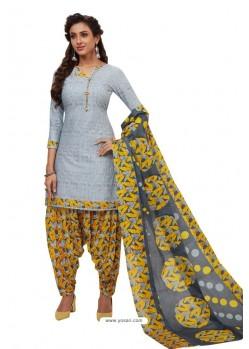 Aqua Grey Designer Cotton Printed Punjabi Patiala Suit