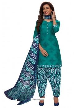 Aqua Mint Designer Cotton Printed Punjabi Patiala Suit