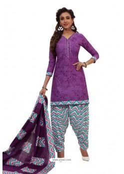 Purple Designer Cotton Printed Punjabi Patiala Suit