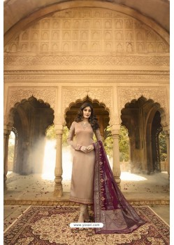 Beige Readymade Designer Party Wear Churidar Salwar Suit