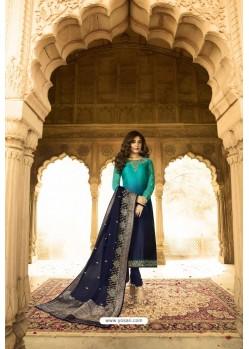 Navy Blue Readymade Designer Party Wear Churidar Salwar Suit