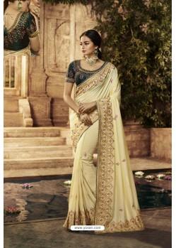 Cream Designer Embroidered Party Wear Sari