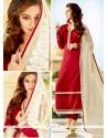 Picturesque Resham Work Tussar Silk Maroon Churidar Designer Suit