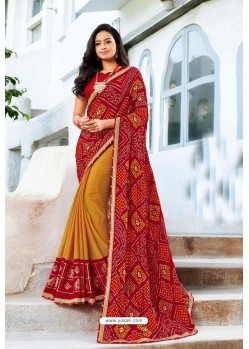 Maroon Designer Printed Georgette Sari