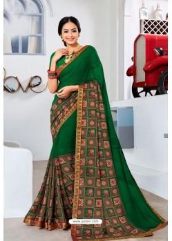 Dark Green Designer Printed Georgette Sari