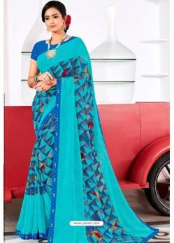 Sky Blue Designer Printed Georgette Sari