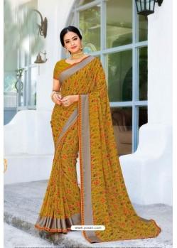Marigold Designer Printed Georgette Sari
