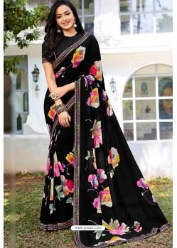 Black Designer Printed Georgette Sari