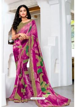 Medium Violet Designer Printed Georgette Sari