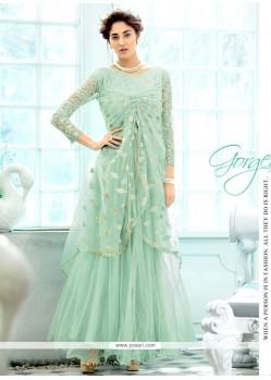 Glamorous Sea Green Long Length Anarkali Suit