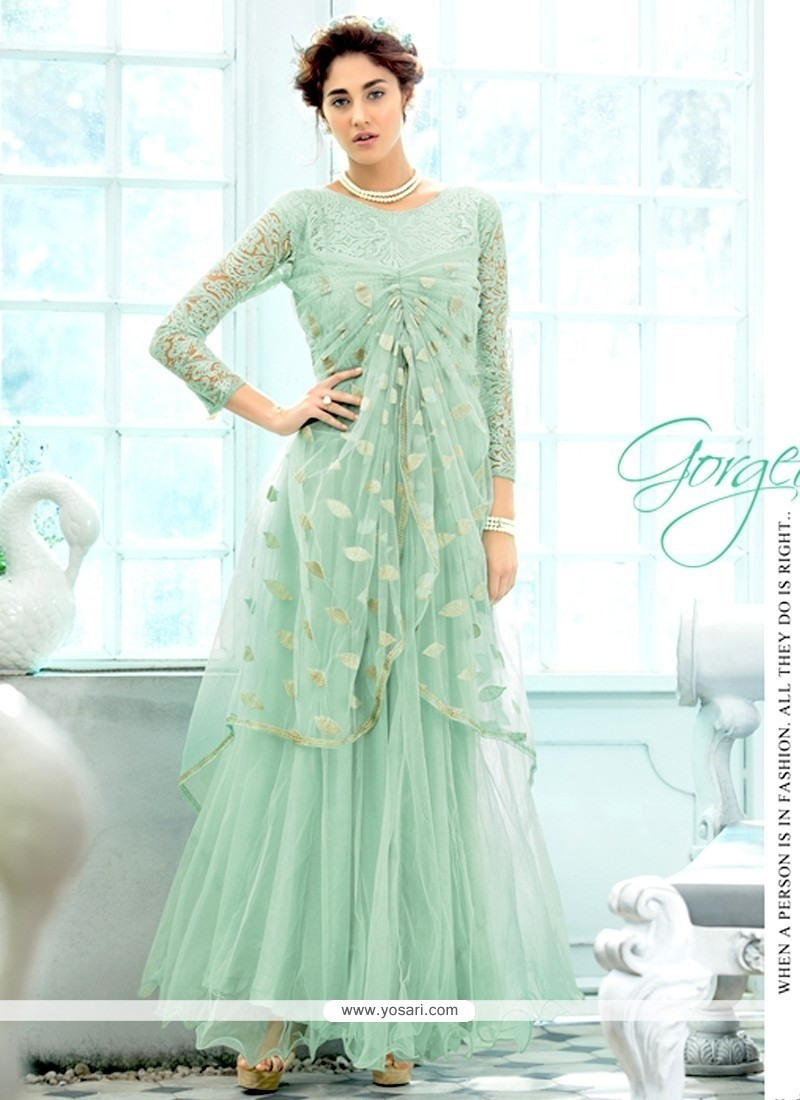 Glamorous Sea Green Long Length Anarkali Suit