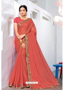 Peach Designer Printed Georgette Sari