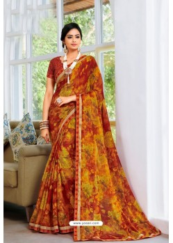 Multi Colour Designer Printed Georgette Sari