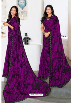 Purple Designer Printed Georgette Sari