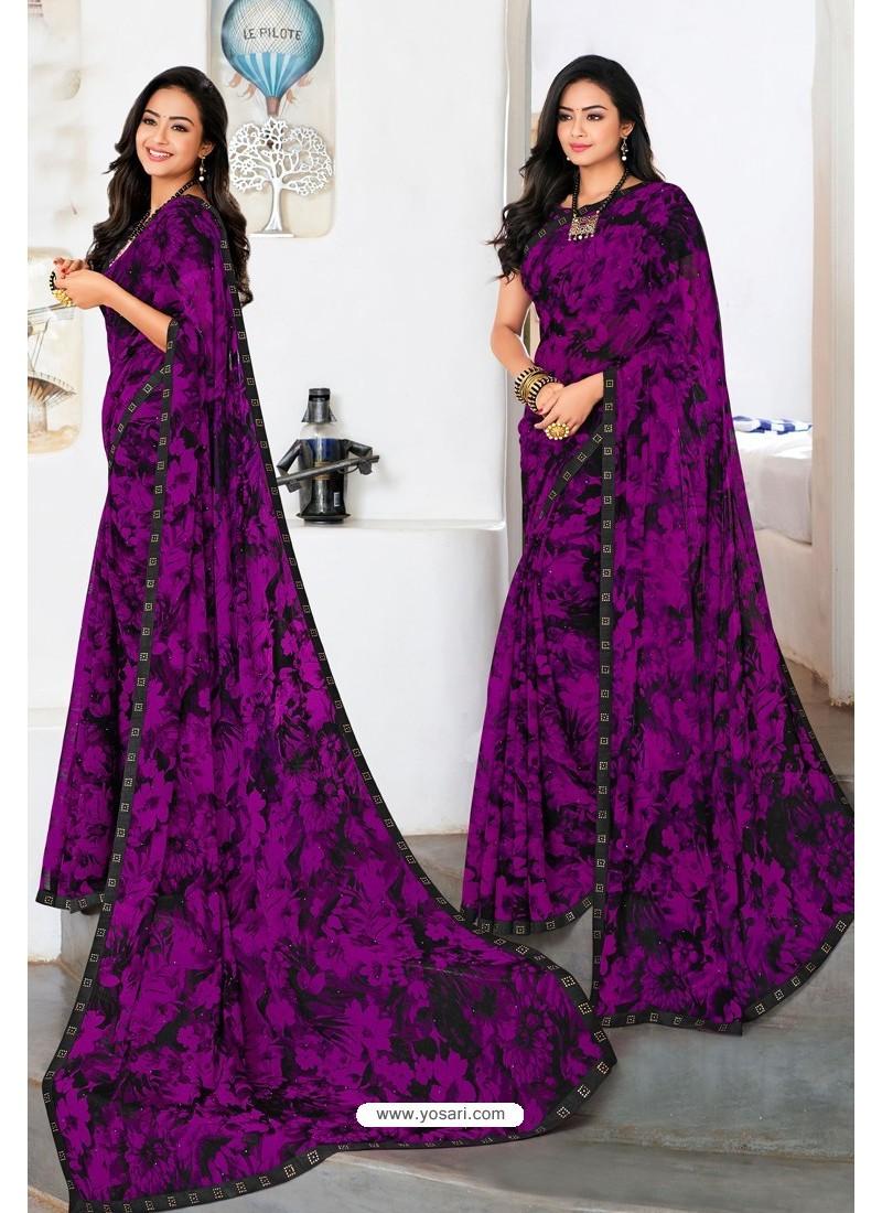 Purple Designer Printed Georgette Sari