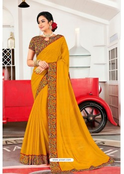 Mustard Designer Printed Georgette Sari