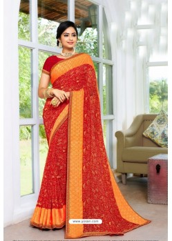 Red Designer Printed Georgette Sari