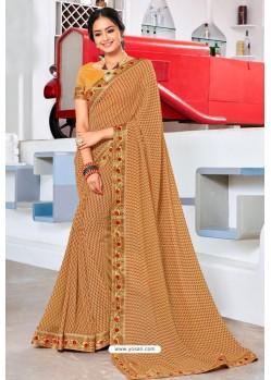 Beige Designer Printed Georgette Sari