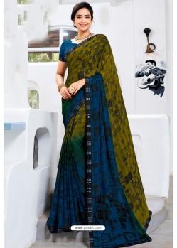 Dark Blue Designer Printed Georgette Sari