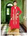 Precious Embroidered Work Georgette Red Designer Palazzo Salwar Suit
